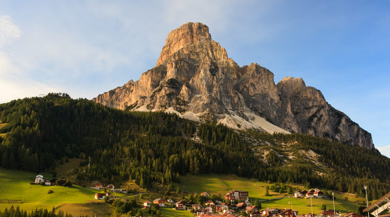 The village of Corvara and the Sassongher in Alta Badia